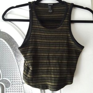 forever21 olive and black striped crop top